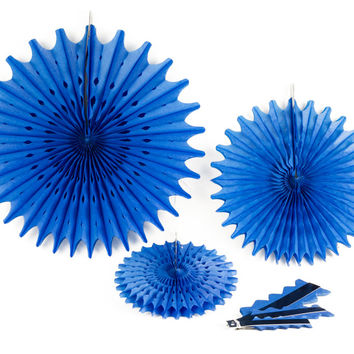 Hanging Paper Medallion, Assorted Colors, Assorted Sizes, 6 Pieces (Blue)