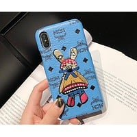 MCM Tide brand personality men and women models embroidery classic logo iphone xr mobile phone case cover M4