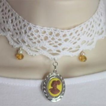 Yellow Lace Vintage Cameo Choker Locket Necklace/Free Shipping
