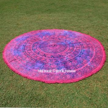 Pink Elephant String Medallion Mandala Roundie Beach Throw - RoyalFurnish.com