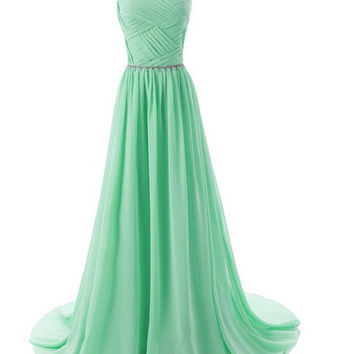 Chiffon Green Prom Dresses,A-Line Prom Dresses,Long Evening Dress