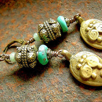 Ethnic Brass & Turquoise Earrings . Vintage Cast Metalwork . Blue and Gold Earrings