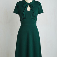 Pinup Long Short Sleeves A-line Archival Revival Dress in Pine