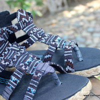 Boho Womens Gladiator Sandals In Hmong Embroidery Vegan Summer Shoes Isadora