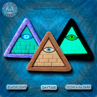 EyeGloArts Gold and Tan GLOW in the dark jewelry Illuminati all seeing eye pyramid pendant clubwear blacklight Psytrance rave candy