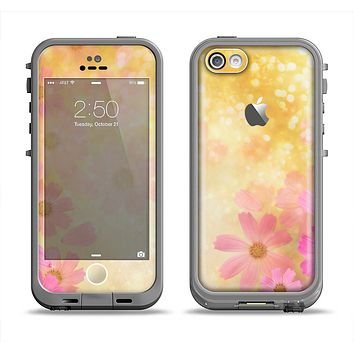The Yellow & Pink Flowerland Apple iPhone 5c LifeProof Fre Case Skin Set