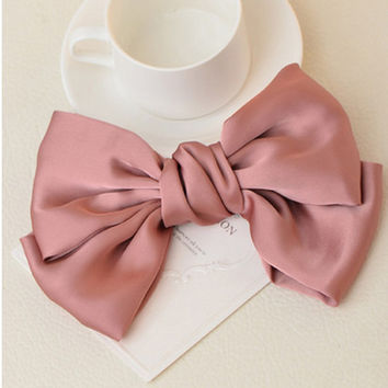 Silk and Satin Big Bow Double Layers Elegant Hair Clips Barrettes for Women Girls Headwear Accessories
