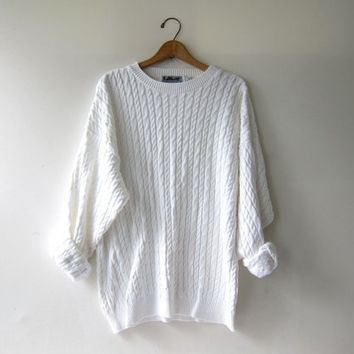 vintage natural white sweater. oversized pullover. cable knit slouchy tunic sweater.