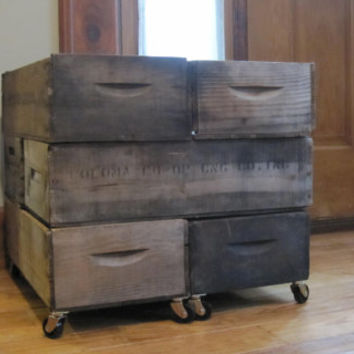 DIY Rolling Crate Side/Coffee Table-6 Cherry Lugs-Wood Orchard Crates-,Repurposed Home Decor,Store Display, Rolling Storage, Shelving,Table