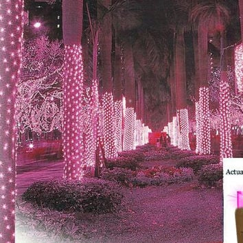 Hot Pink Tree Trunk Net Christmas Lights - 150 Bulbs On Brown Wire