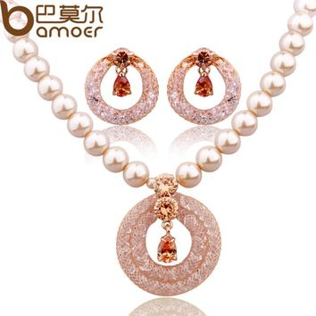 Luxury Anniversary Pearl Jewelry Sets For Women Champagne Gold Color Zircon Crystal Necklace + Earrings
