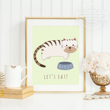 Cute Cats Nursery Illustration | Childrens Wall Art | Baby Girl Room Ideas  | Lets Eat