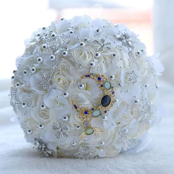 Handmade artificial wedding bouquets bridal flower pearl rhinestone satin rose wedding flowers bridal bouquets