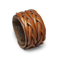 Vintage Fashion Brown Leather Mens Cuff Wrap Wristband Adjustable Belt Bangle Bracelet Braided