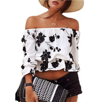 Summer Crop Blouse Sexy Fashion Off Shoulder Strapless Printed White  Women Tops blusas femininas 2016 ONY6820