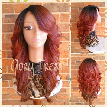 READY To SHIP // Long & Curly Lace Front Wig, Ombre Copper Red Wig, Auburn Wig, Dark Rooted Bombshell Wig // SALVATION (Free Shipping)