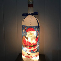 Santa and Snow Wine Bottle Lamp