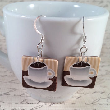 Coffee Cup Scene Dangle Earrings, Brown Silver Polymer Clay Jewelry