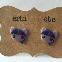 Handmade Plastic Fandom Earrings - My Little Pony - Twilight Sparkle
