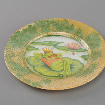 Beautiful handmade designer decoupage glass plate for wall decor Princess Frog
