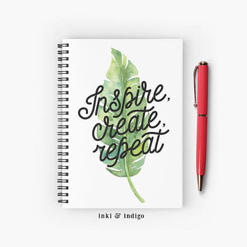 Inspire Create Repeat - Spiral Notebook With Lined Paper, A5 Writing Journal, Diary, Lined Journal, Gift For Writers