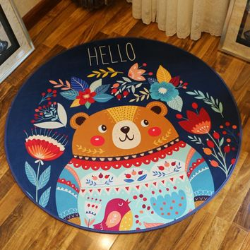 Personality cartoon animal round non slip bath mat,computer-chair carpet,Bedroom study Hanging chair carpet,super soft doormat