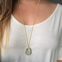 Geode necklace, long Druzy necklace, long gold filled chain, geode cave pendant, boho necklace, long statement necklace