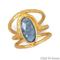 True Blue Hydro Quartz and 14K Gold Ring