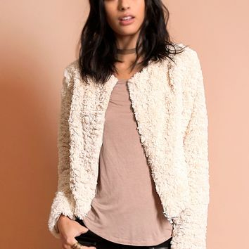 Only One Cropped Faux Fur Jacket | Threadsence