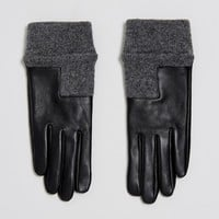 ASOS Leather Glove With High Low Rib Cuff and Touch Screen at asos.com