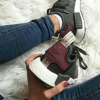 Adidas NMD Green/Burgundy Casual Running Sport Sneakers Shoes