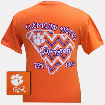 New South Carolina Clemson State Chevron EST. 1889 Girlie Bright T Shirt