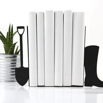 Bookends -Shovel and boot- laser cut for precision these bookends will hold your favorite cookbooks
