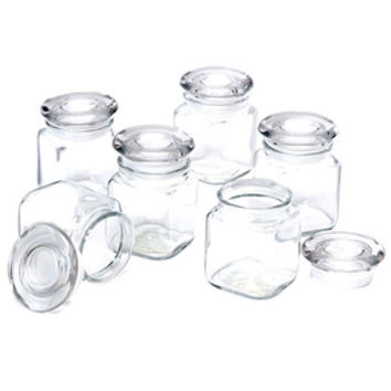 Glass Mini Square 4-Ounce Candy Jars with Lids: 6-Piece Case