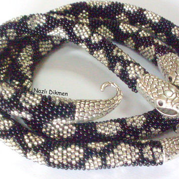 Emek Pinari-Bead Crochet Necklace - Snake Necklace - Snake Crochet Necklace