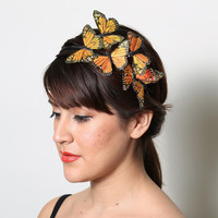 Orange Monarch Butterfly Headband - fall, bright, woodland, fairy tale