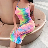 Fashion new women's camouflage gradient camisole dress
