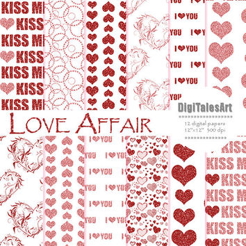 "Glitter hearts digital paper ""Love Affair"" digital clip art papers in red, pink, patterns, download, hearts background"