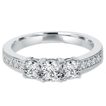 1 CT 3-Stone Diamond Engagement Ring 10K White Gold