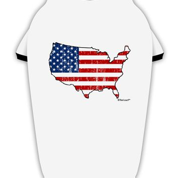 United States Cutout - American Flag Distressed Stylish Cotton Dog Shirt by TooLoud