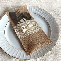 natural burlap and lace rustic silverware holder, wedding, bridal shower, birthday table decoration