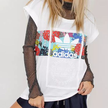 Adidas Tongue Label Roll Up Branco Tee T-Shirt