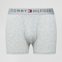 Tommy Hilfiger Cotton Icon Trunks in Grey Marl at asos.com