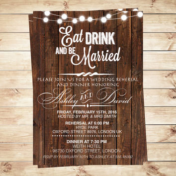 Rustic Eat drink and be married wedding invitation, Wood Wedding Invitations, Wood Wedding invitations & announcements, Art Party Invitation
