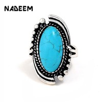 NADEEM New Punk Personalized Boho Ring Jewelry Vintage Tibetan Antique Silver Color Turquoises Stone Ring for Men Women Gift