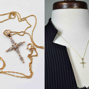 Vintage 14K Gold and Diamond Cross Pendant Necklace, Two Tone, Yellow & White, Six Diamonds, Twisted Rope Chain, Exquisite! #c316