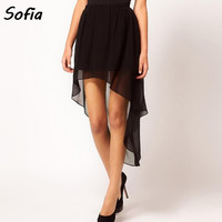 women skirt fashion chiffon front short long back dovetail skirts new irregular skirt SK2111