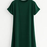 Rolled Sleeve Basic Tee DressFor Women-romwe
