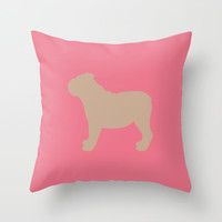 English Bulldog Throw Pillow by Erin Rea