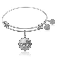 Expandable Bangle in White Tone Brass with Alpha Omicron Pi Charm Symbol